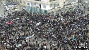 Anti-government demonstrators in Idlib, Syria - 6 January 2012