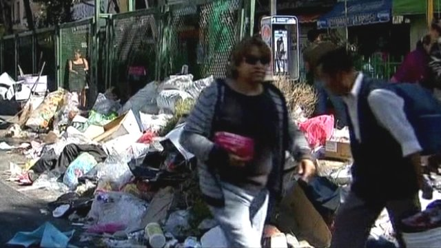 Rubbish on the streets of Mexico City