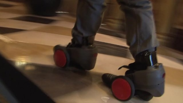 Watch the motorised shoes in action. This clip has no sound