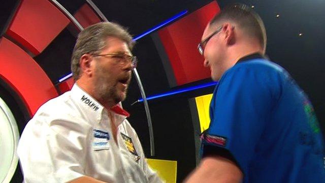 Martin Adams shakes hands with Gary Stone