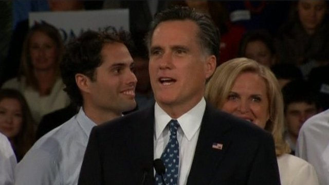 Mitt Romney speaks to supporters as results come in from the New Hampshire primary
