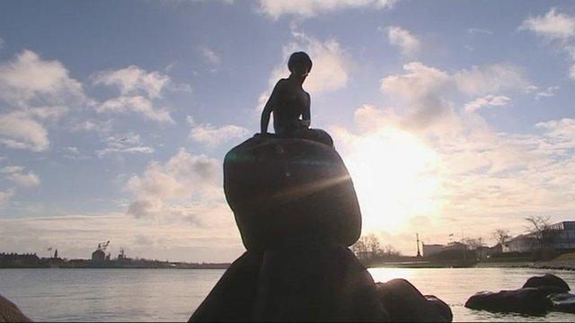 Copenhagen's statue of The Little Mermaid.