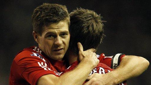 Steven Gerrard celebrates scoring against Newcastle