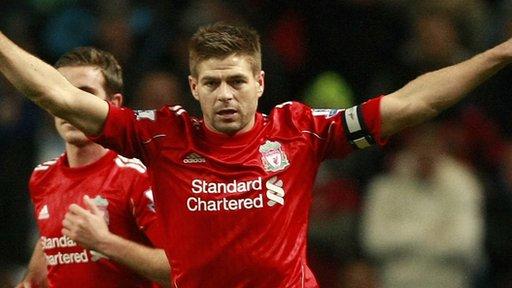 Steven Gerrard scores a penalty against Man City