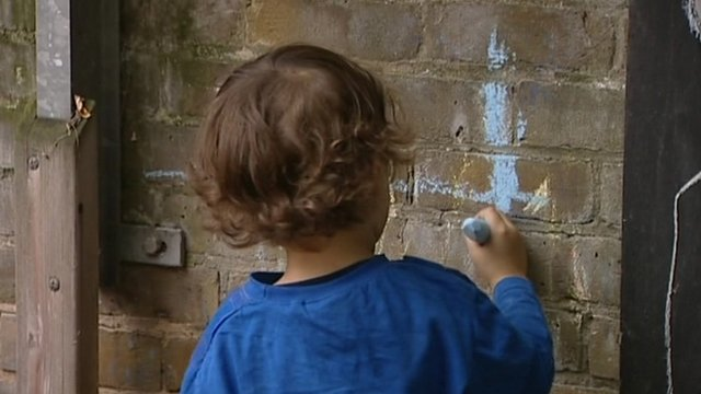 Child drawing on the wall