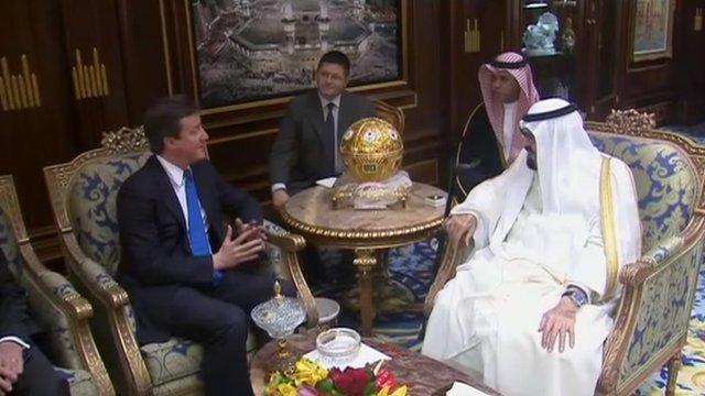David Cameron meeting Saudi officials