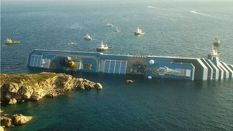 Costa Concordia seen from land (14 January 2011)