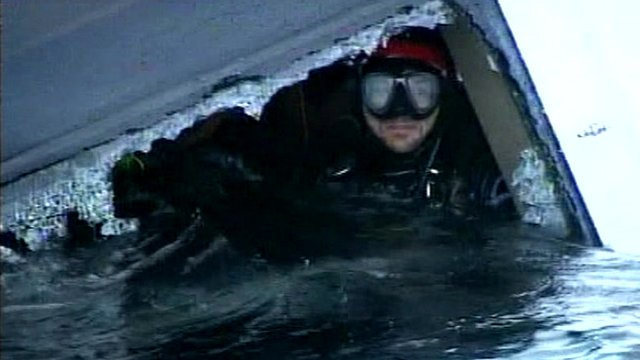 Diver inside the Costa Concordia