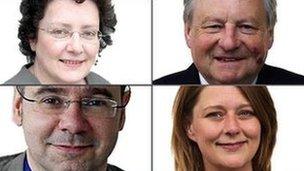 Elin Jones, yr Arglwydd Dafydd Elis Thomas, Leanne Wood a Simon Thomas