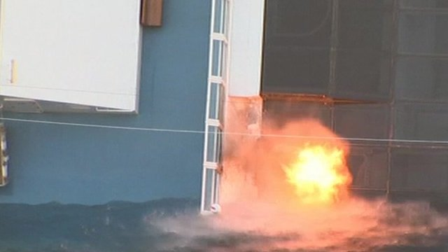 Explosives used to blast a hole in the Costa Concordia