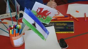 Wales and Lesotho flags