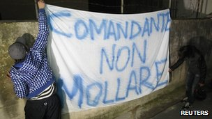 """Banner reading """"Captain don't give up"""" is hung outside the home of Costa Concordia Captain Francesco Schettino in Meta di Sorrento, Italy - 18 January 2012"""