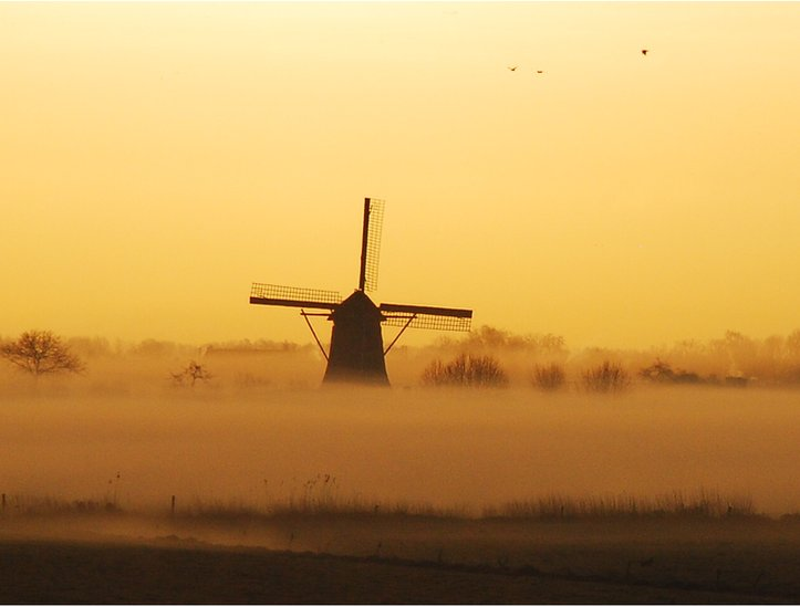 A windmill in the mist