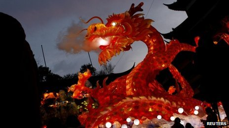 A dragon lantern seen at a park in Shanghai on 17 January 2012