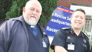 The Rev Roger Whatley, chaplain to the Isle of Wight Fire and Rescue Service with Chief Fire Officer Steve Apter
