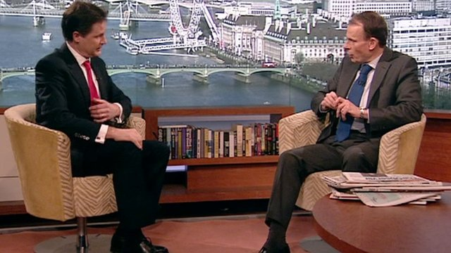 Deputy Prime Minister Nick Clegg and Andrew Marr