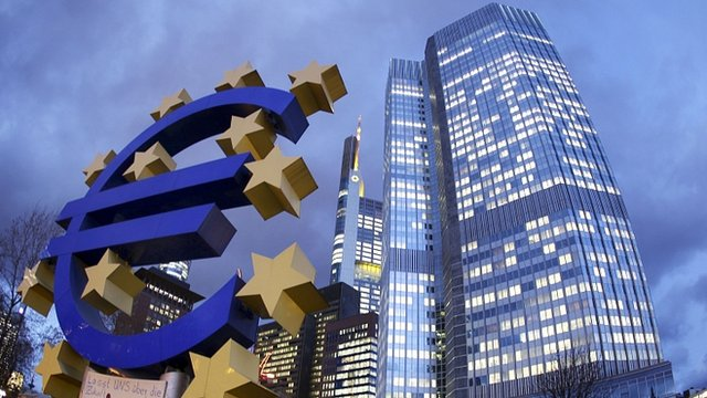 Euro sign outside ECB headquarters, Frankfurt