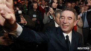 Francois Bayrou at a political rally in Dunkirk (January 19, 2012)