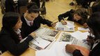 School Reporters from St Joseph's Catholic High School in Slough work with sixth-form students.