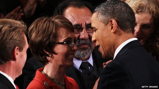 Gabrielle Giffords and Barack Obama
