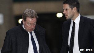 Harry Redknapp (left) arrives at court with his son Jamie on Thursday 26 January