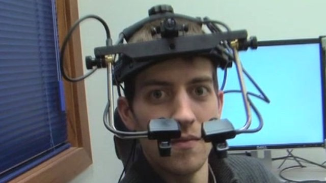 A test subject wearing glance measuring kit
