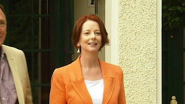 Julia Gillard speaks to the media.