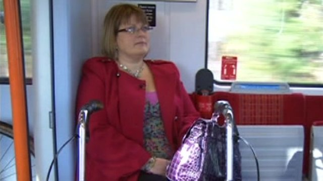 Disabled person on train