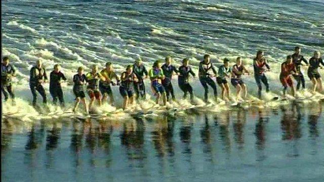 Water-ski record attempt