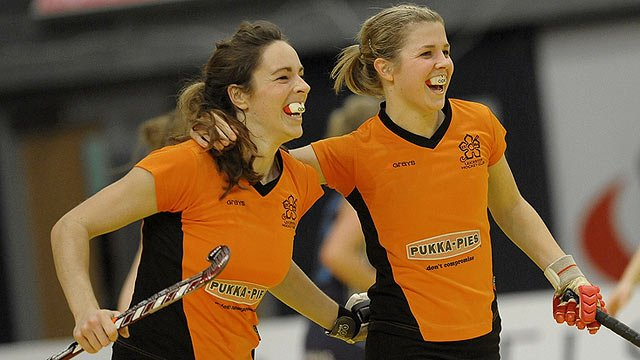 Lauren Turner (right) is congratulated by Kate Long after her winning goal