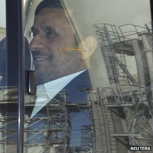 President Mahmoud Ahmadinejad visits an industrial site in Kerman province, Iran (26 January 2012)