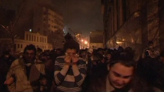 Demonstrators flee from teargas