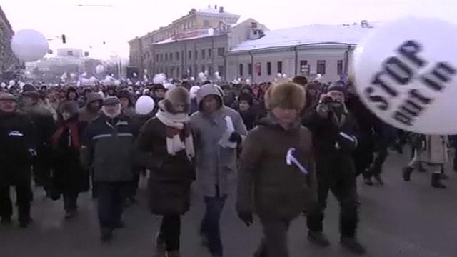 Anti-Putin protesters gather in Moscow