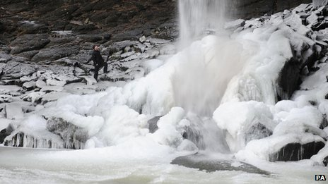 A frozen waterfall in Yorkshire