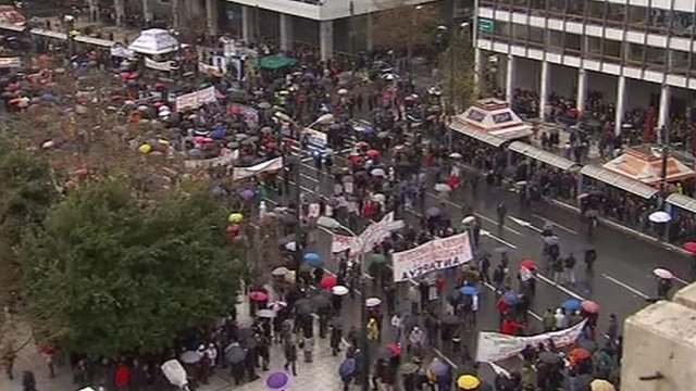 Strikers march in Athens.