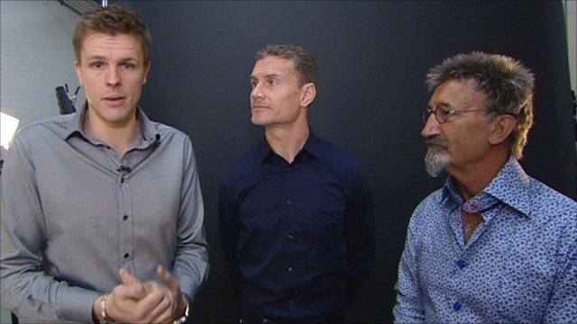BBC F1 presenter Jake Humphrey with pundits David Coulthard and Eddie Jordan