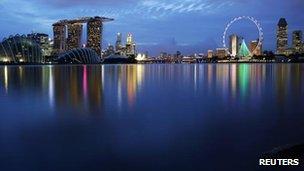 Skyline of Singapore's business district taken on 1 December, 2011