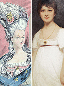 Painting of Marie-Antoinette (L) and Jane Austin (R)