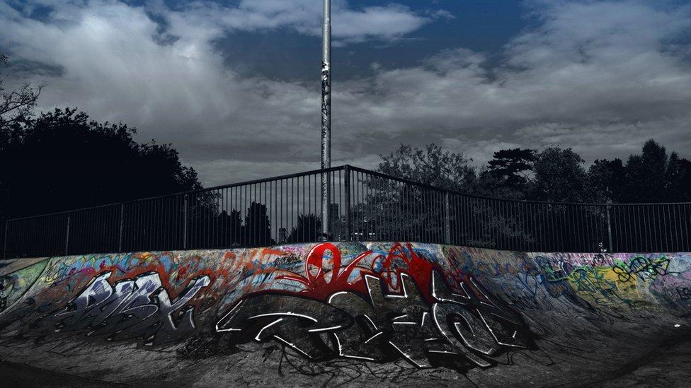 Graffiti on a skate ramp