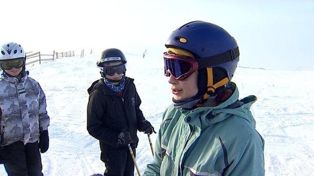 Skiers on a ski slope