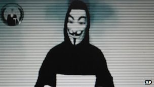 Image of Guy Fawkes taken from a video posted by the hacking group Anonymous when it hacked the Greek Justice Ministry website 3 February 2012