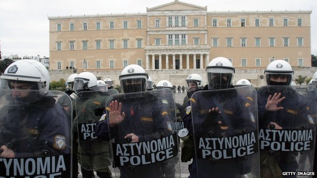 Riot police outside the parliament building in Athens