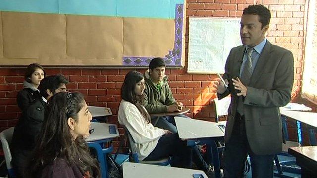 Aleem Maqbool with students in Islamabad.