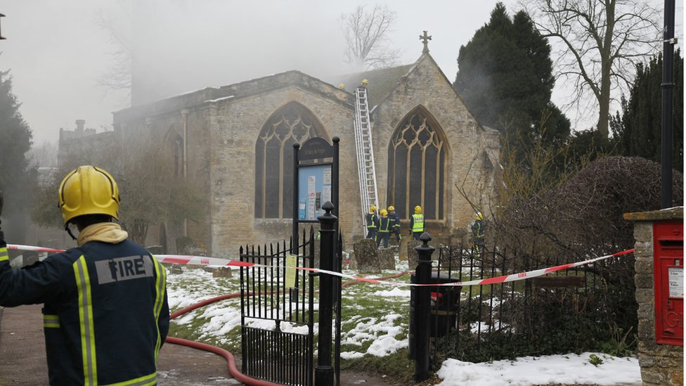 Bbc News In Pictures 12th Century Church Fire In Charlbury
