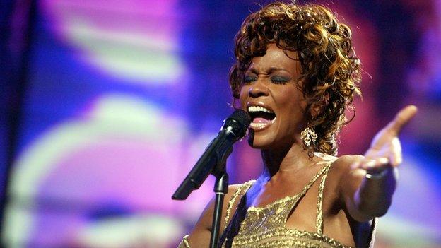 Whitney Houston performs in Las Vegas in 2004.