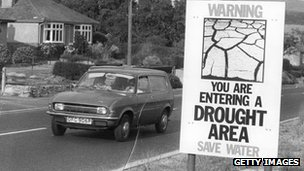 A public information notice warning about the drought, erected by the road in the Bridport area of Dorset during the drought of 1976