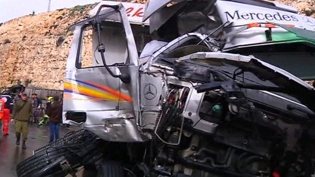 Collision between school bus and Israeli truck in West Bank.