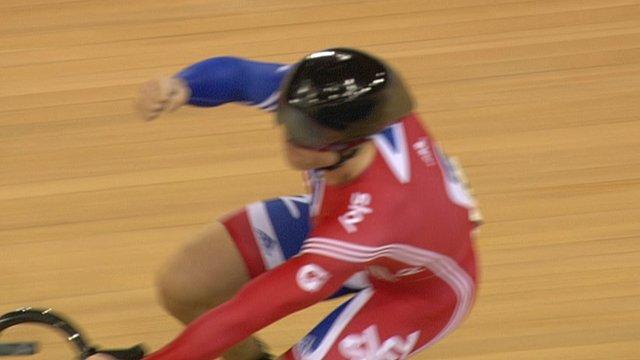 Sir Chris Hoy celebrates winning team sprint bronze at the Track World Cup