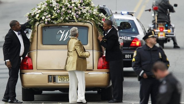 Hearse carrying Whitney Houston's body
