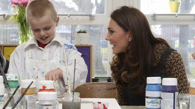 The Duchess of Cambridge and schoolboy Jaydn Proffitt